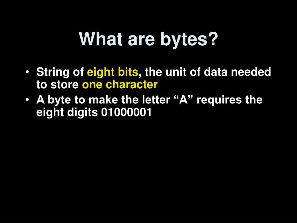 What are bytes?