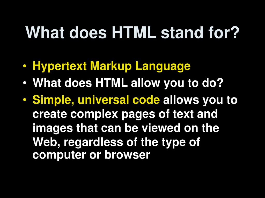 What does HTML stand for?