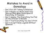 mistakes to avoid in genealogy