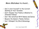 more mistakes to avoid