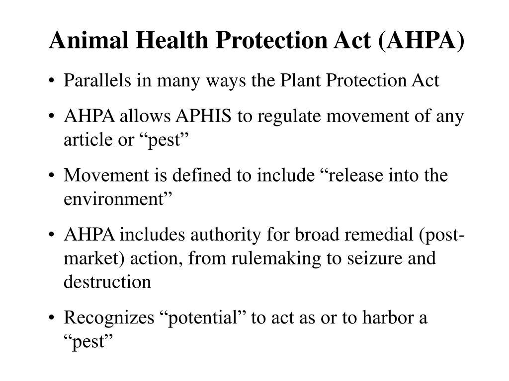 Animal Health Protection Act (AHPA)