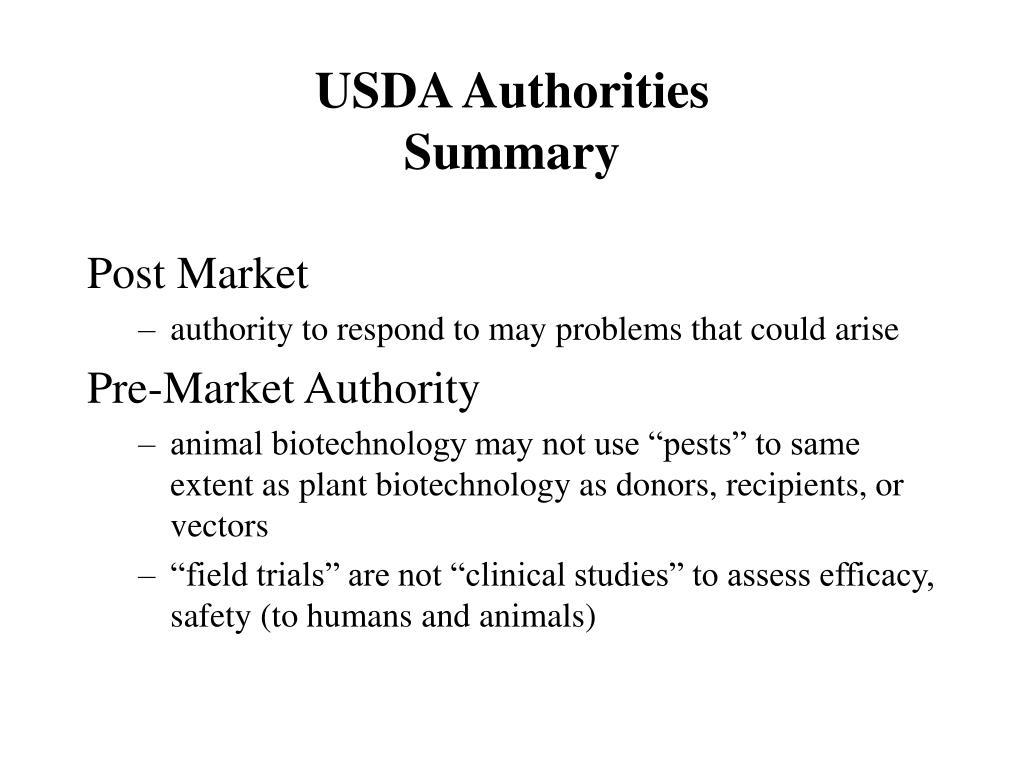 USDA Authorities