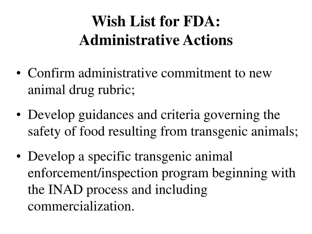 Wish List for FDA: