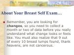 about your breast self exam
