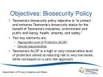 objectives biosecurity policy