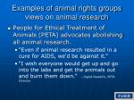 examples of animal rights groups views on animal research