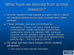 what have we learned from animal research