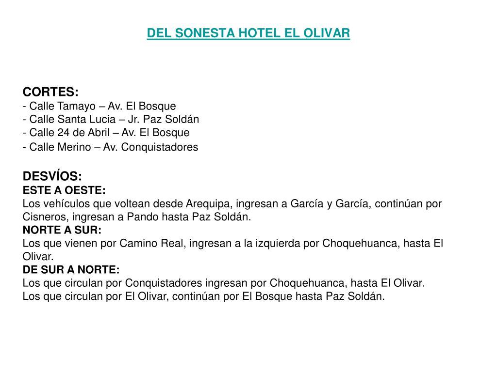 DEL SONESTA HOTEL EL OLIVAR