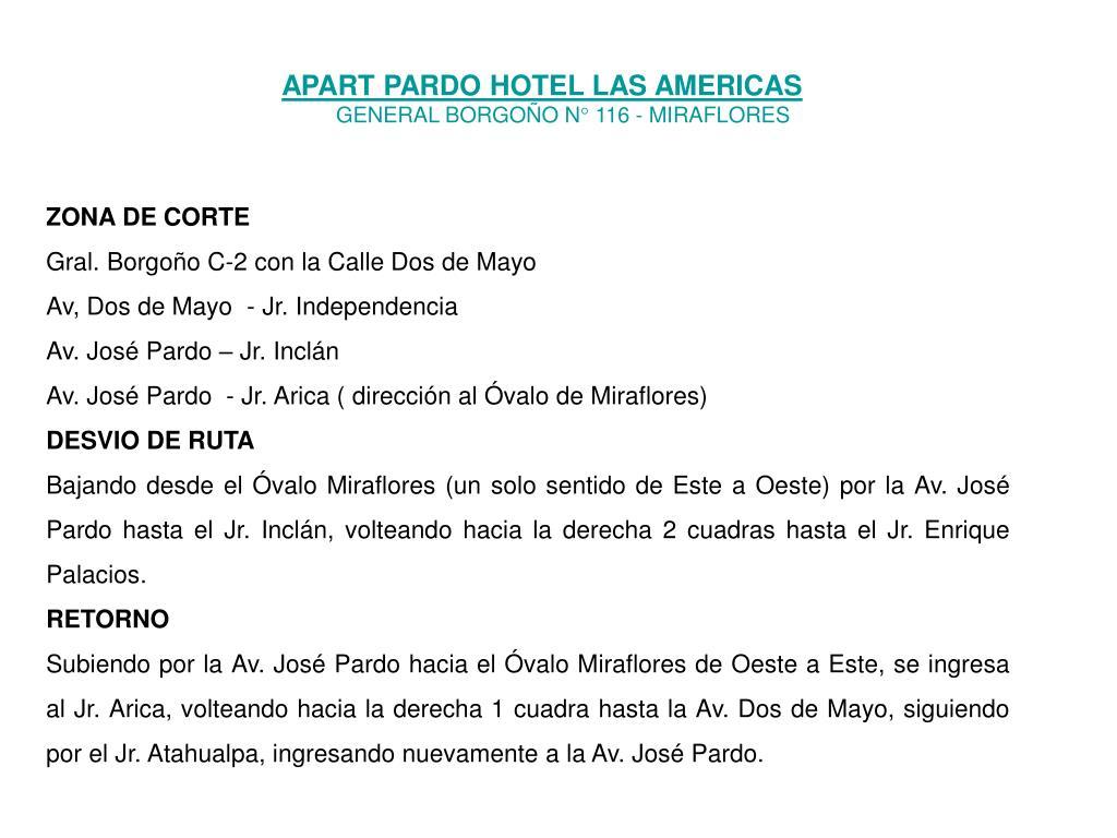 APART PARDO HOTEL LAS AMERICAS