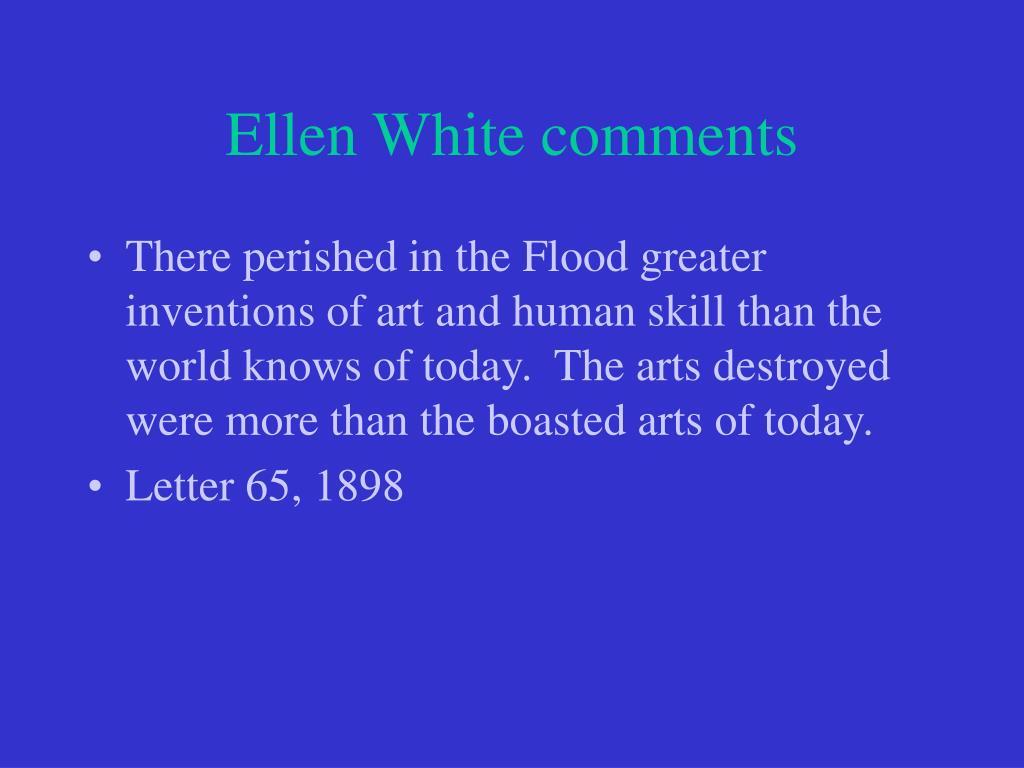 Ellen White comments