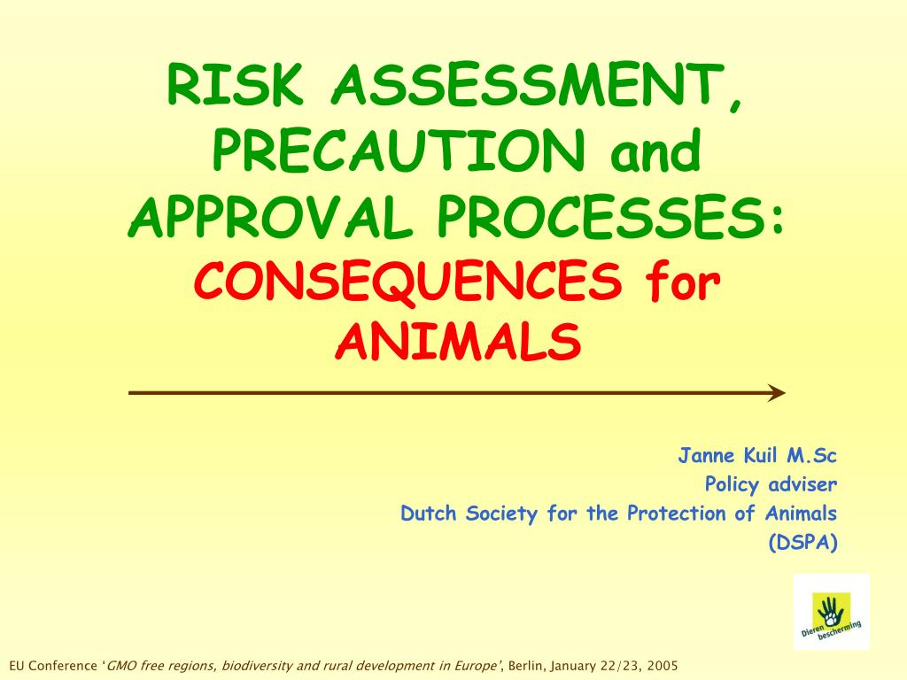 risk assessment precaution and approval processes consequences for animals l.