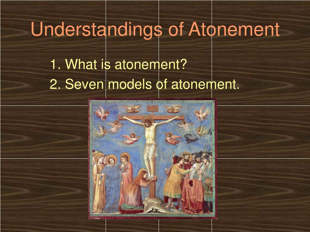 understanding of atonement Atonement (heb כִּפִֻּרים, kippurim, from the verb כפר)the english word atonement (at-one-ment) significantly conveys the underlying judaic concept of atonement, ie, reconciliation with god.
