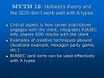 myth 12 holland s theory and the sds don t work well with a types