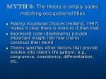 myth 9 the theory is simply codes matching occupational titles