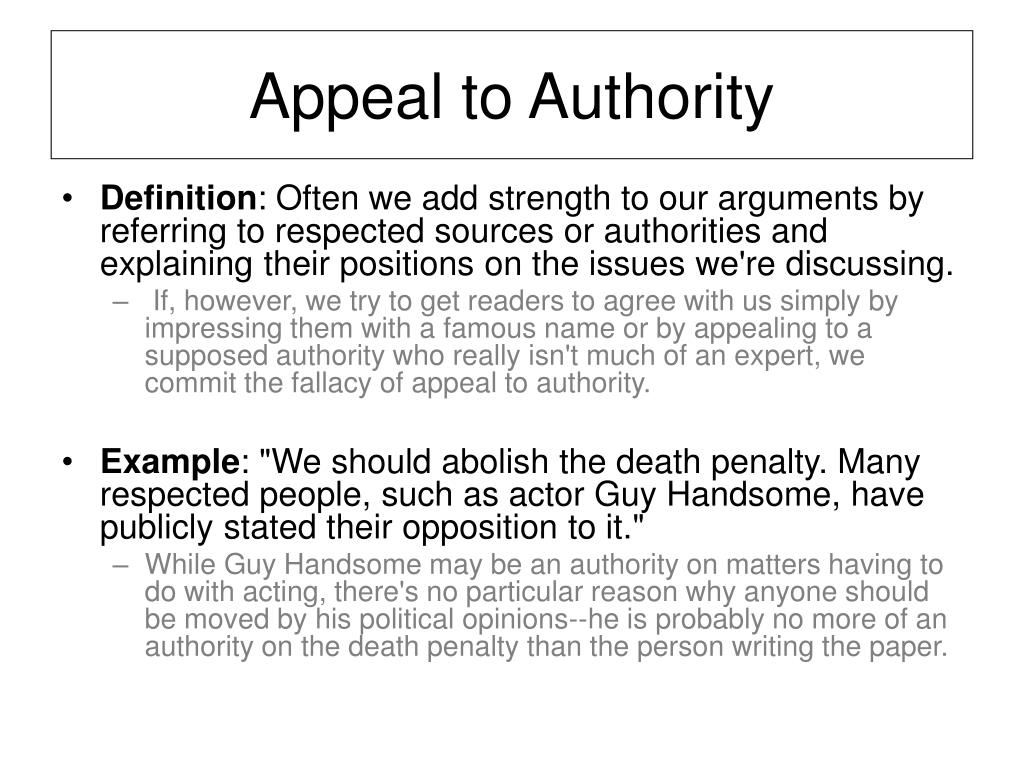Appeal to Authority
