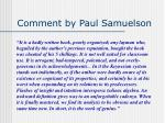 comment by paul samuelson
