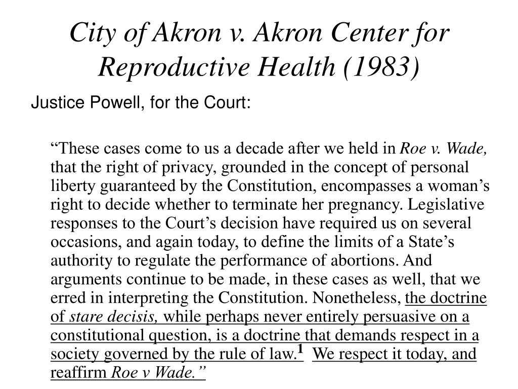 City of Akron v. Akron Center for Reproductive Health (1983)