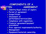components of a written agreement