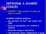 defining a shared vision