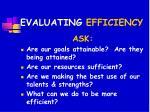 evaluating efficiency