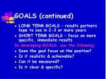 goals continued
