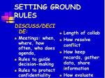 setting ground rules