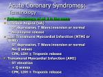 acute coronary syndromes terminology