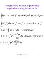 interpret wave function as probability amplitude for being in interval dx