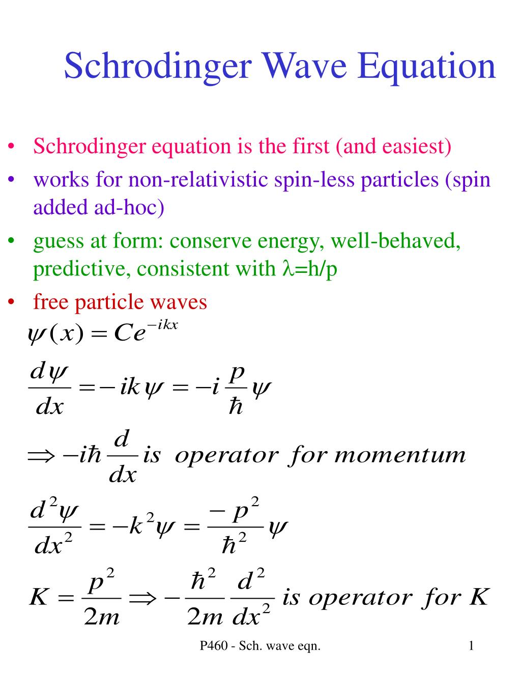 schrodinger wave equation l.