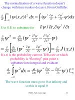 the normalization of a wave function doesn t change with time unless decays from griffiths