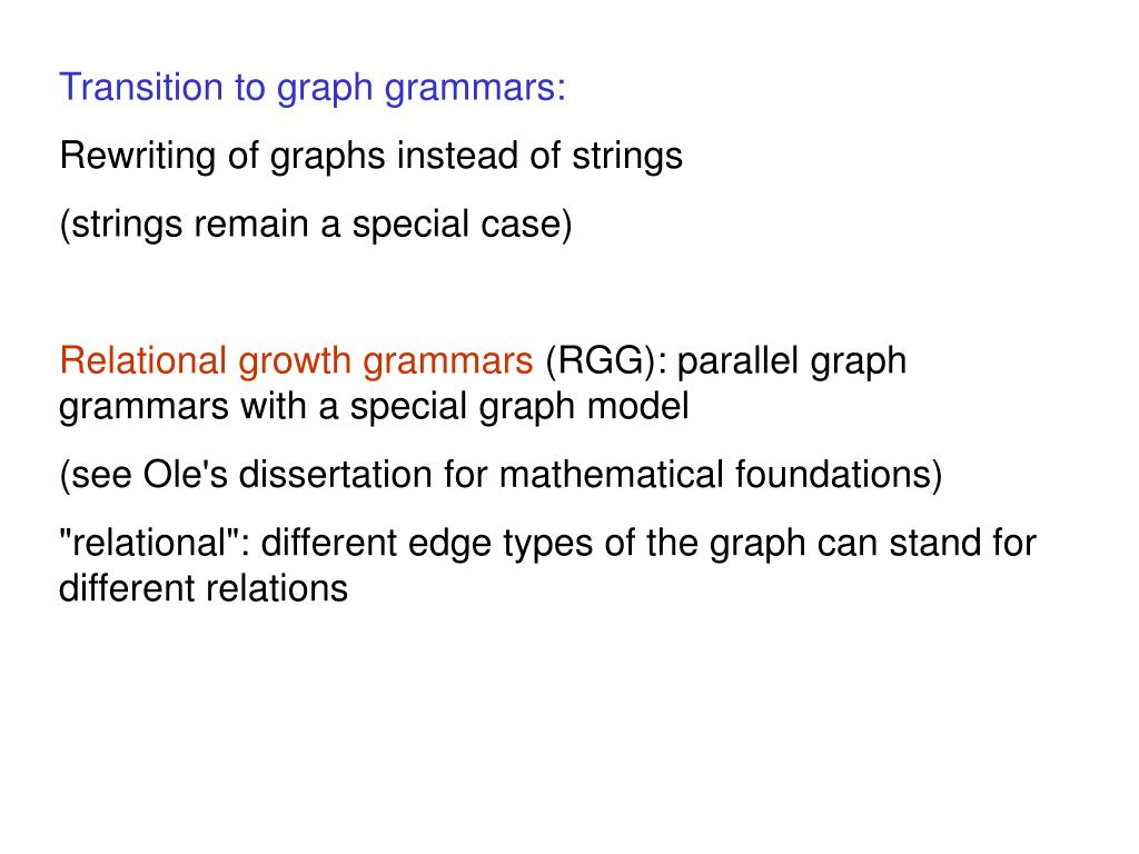 Transition to graph grammars: