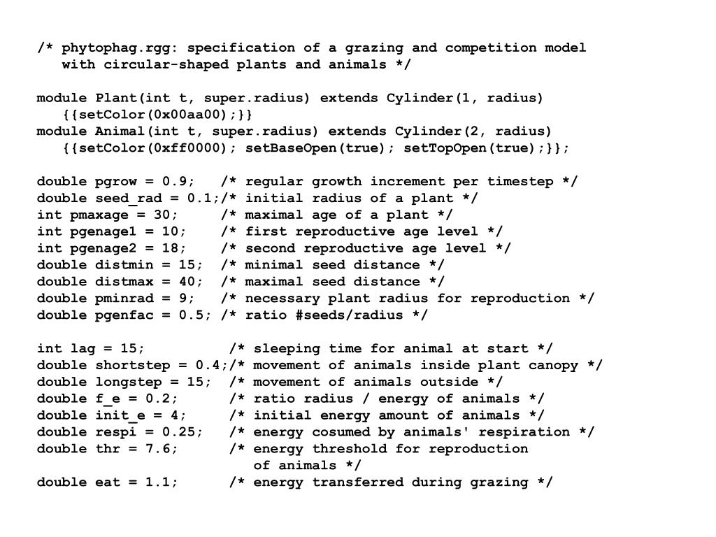 /* phytophag.rgg: specification of a grazing and competition model