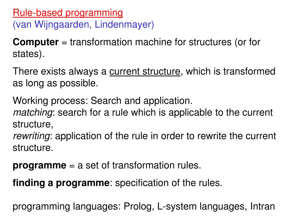 Rule-based programming