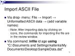 import ascii file