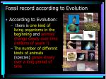 fossil record according to evolution