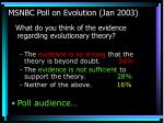 msnbc poll on evolution jan 2003