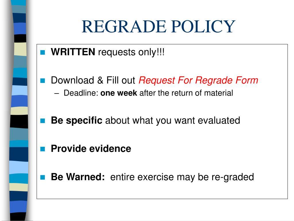 REGRADE POLICY
