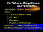 the nature of competition in sport education17