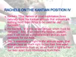 rachels on the kantian position iv