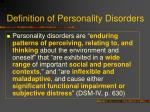 definition of personality disorders