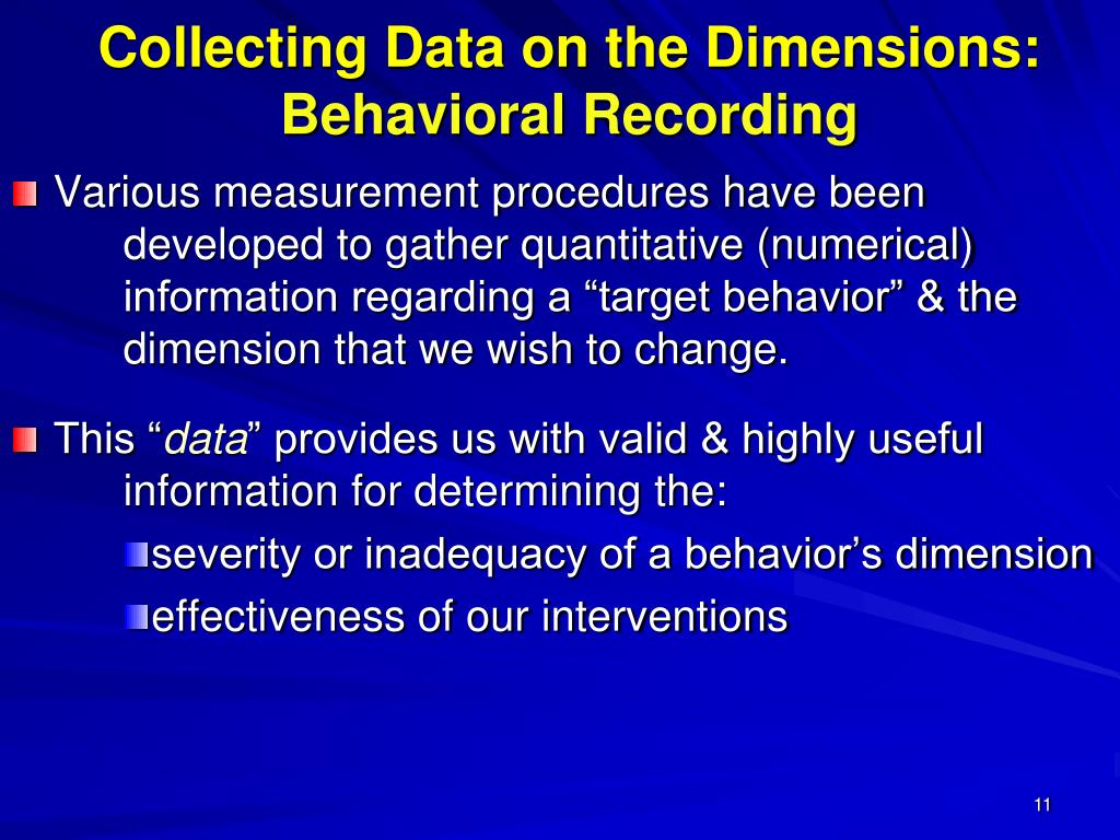 Collecting Data on the Dimensions: