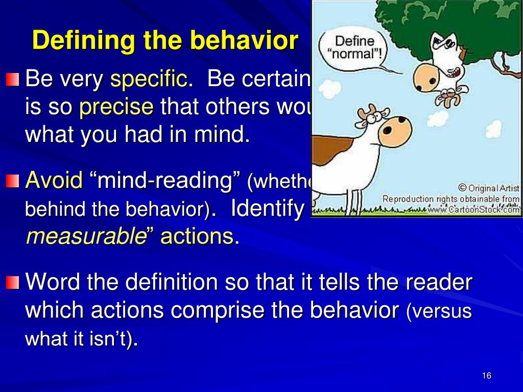 Defining the behavior