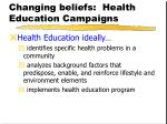changing beliefs health education campaigns