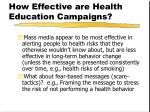 how effective are health education campaigns