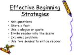 effective beginning strategies