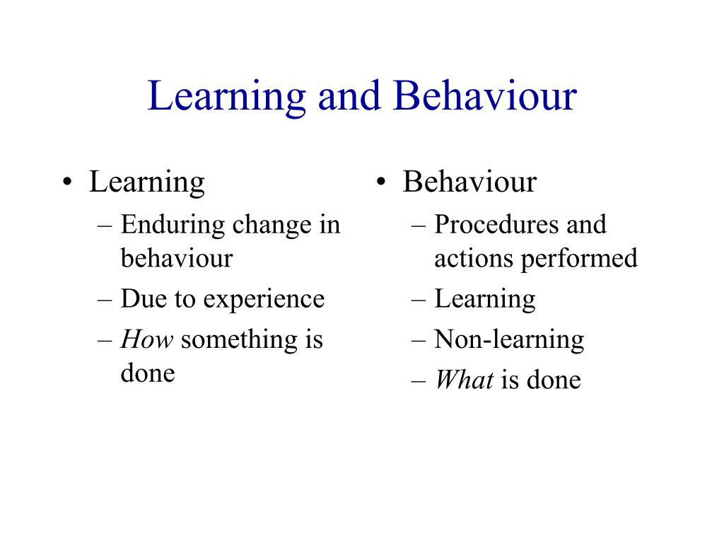 learning and behaviour l.
