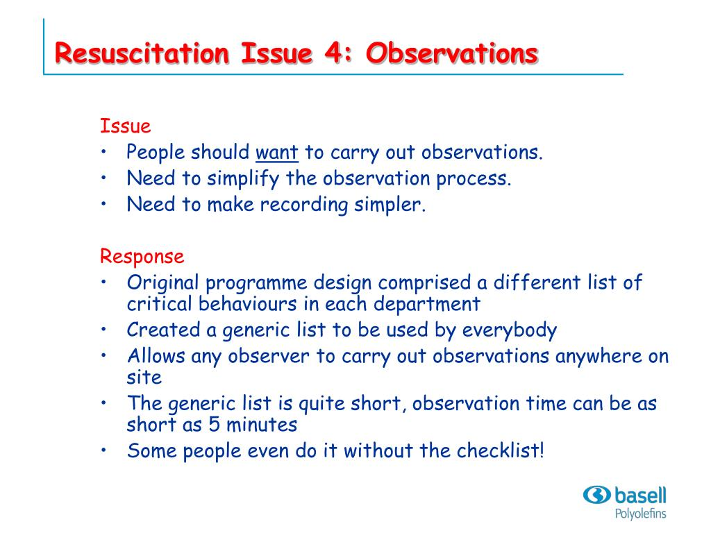 Resuscitation Issue 4: Observations