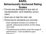bars behaviourally anchored rating scales