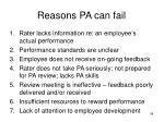 reasons pa can fail