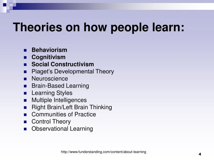 theories of learning and how they Learning theories are frameworks that are extensively used by instructional designers to meet the requirements of the target audience and the situation to do justice to this mandate, an instructional designer must first understand the learning theories in order to apply them.